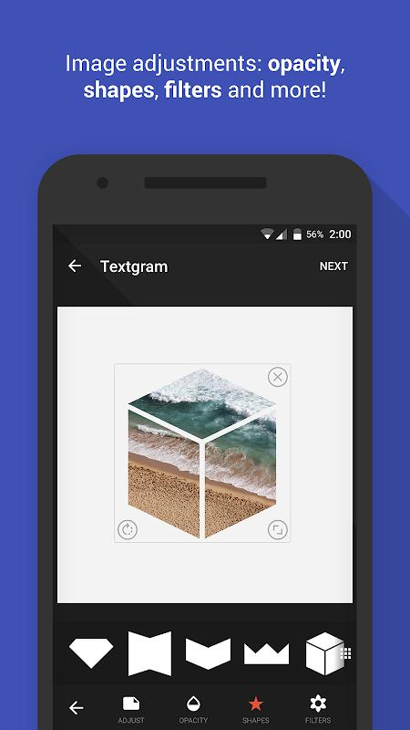 Android Textgram - write on photos Screen 5
