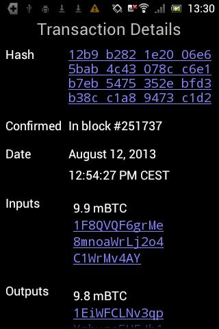 Android Mycelium Bitcoin Wallet Screen 3