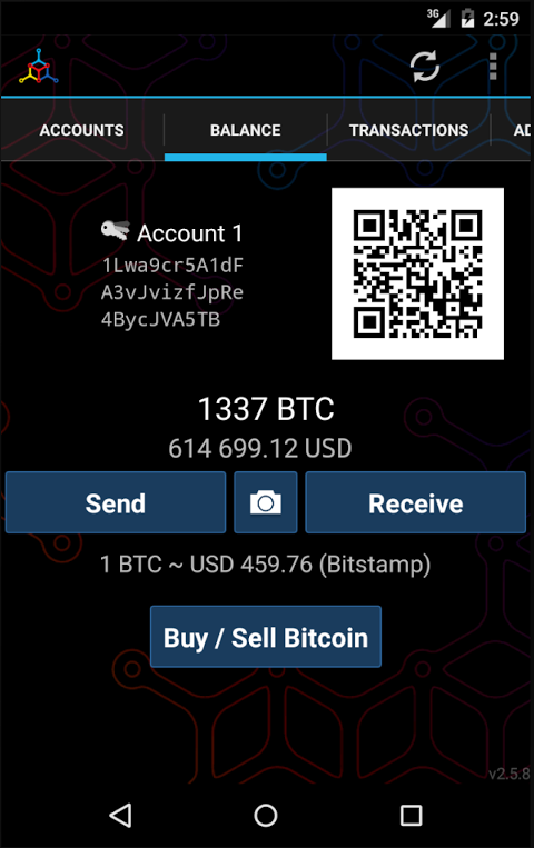 Android Mycelium Bitcoin Wallet Screen 5