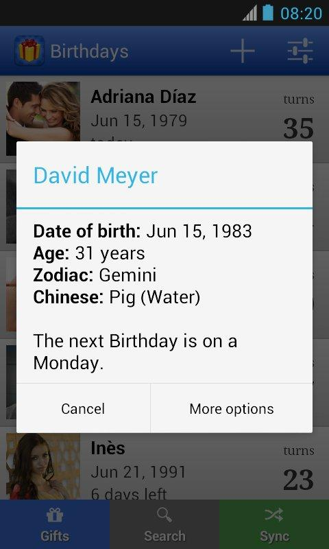 Birthdays for Android 3.4.11 Screen 7