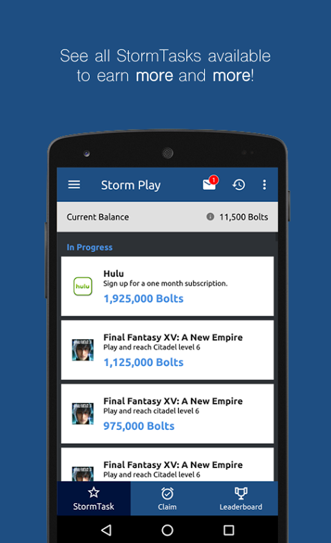 Android Storm Play Screen 3