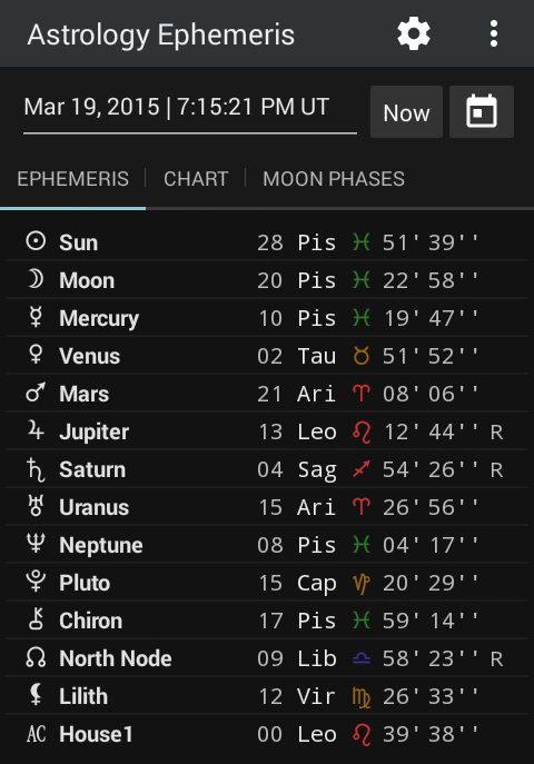 Astrology Ephemeris 0.5 Screen 2