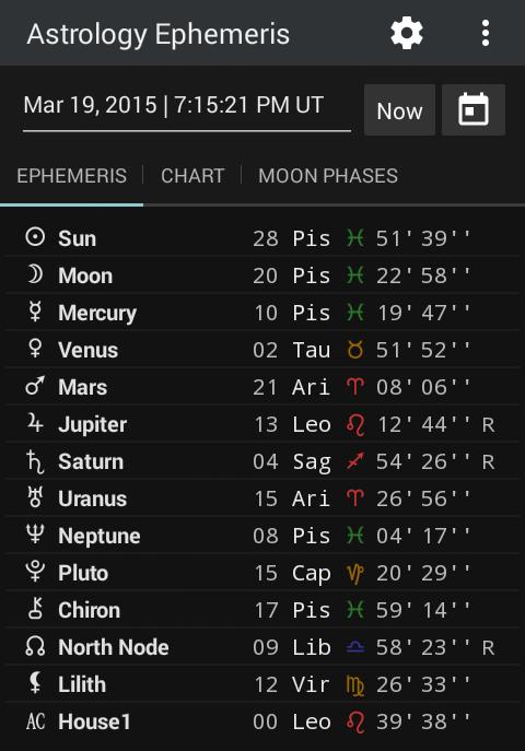 Astrology Ephemeris 0.5 Screen 2