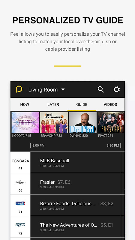 Android Peel Smart Remote TV Guide Screen 5