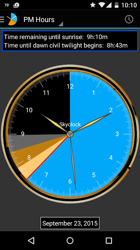 Android Skyclock Screen 2