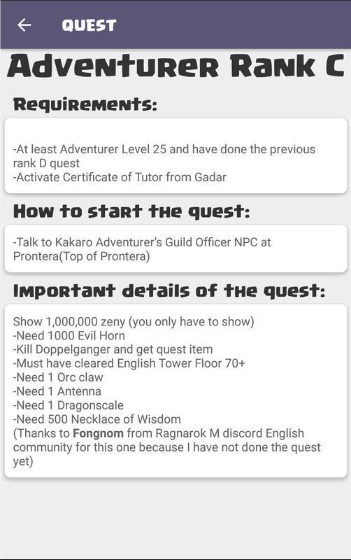 Android Ragnarok M Guide: GlobalSEA Screen 2