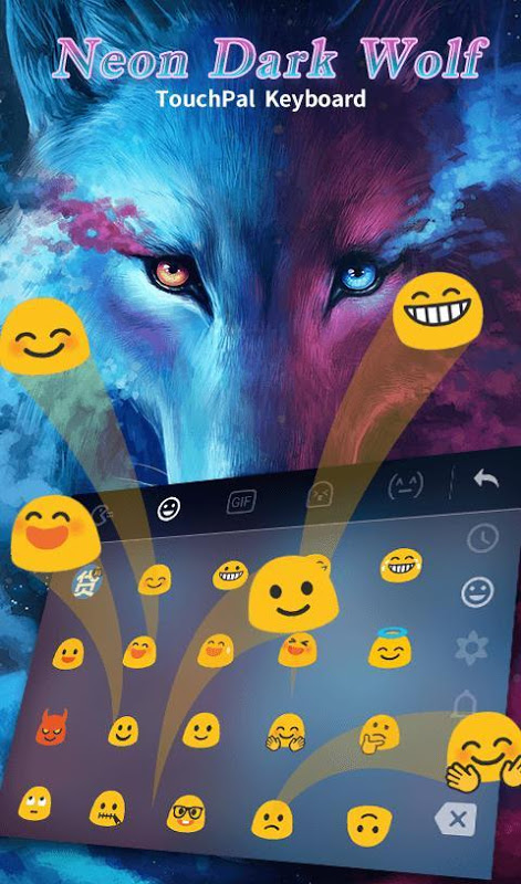 Android Blue Night Neon Dark Wolf Keyboard Theme Screen 6