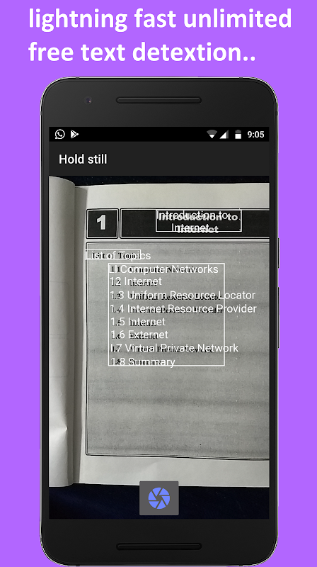 Android Image to text converter / text scanner Screen 1