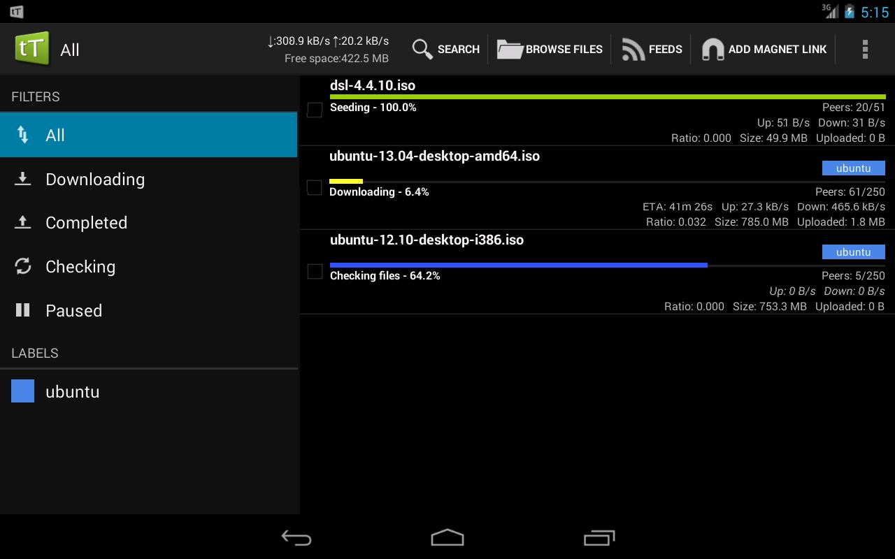 Android tTorrent Pro - Torrent Client Screen 7