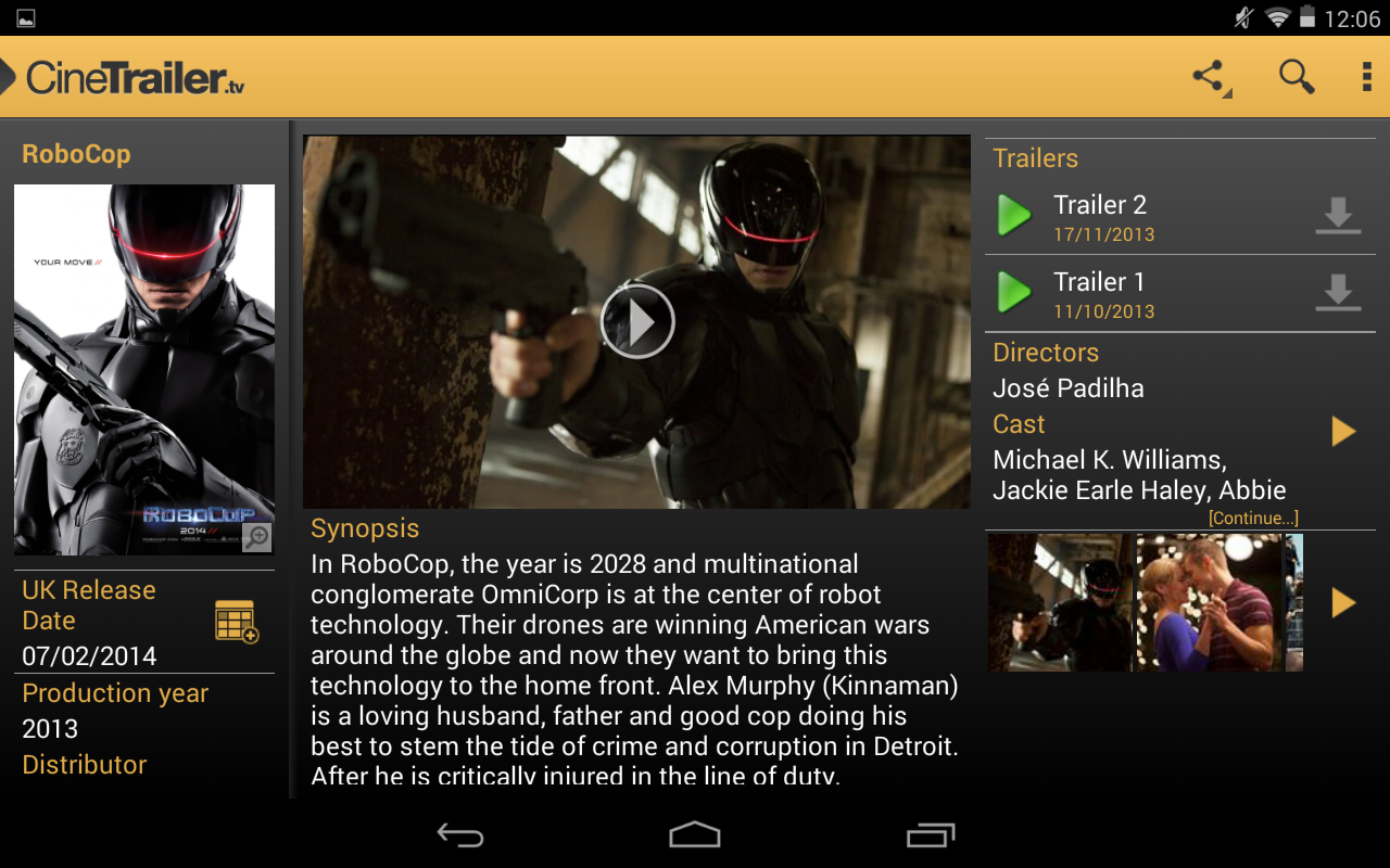 Android CineTrailer Cinema & Showtimes Screen 8