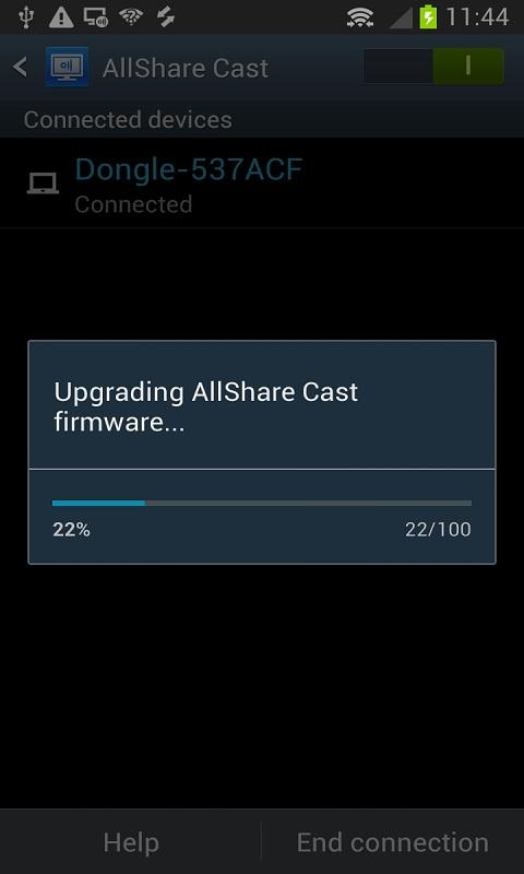 Android AllShareCast Dongle S/W Update Screen 3