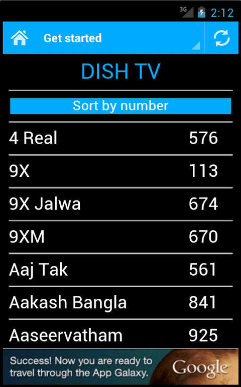 Android DTH Television Guide India Screen 3