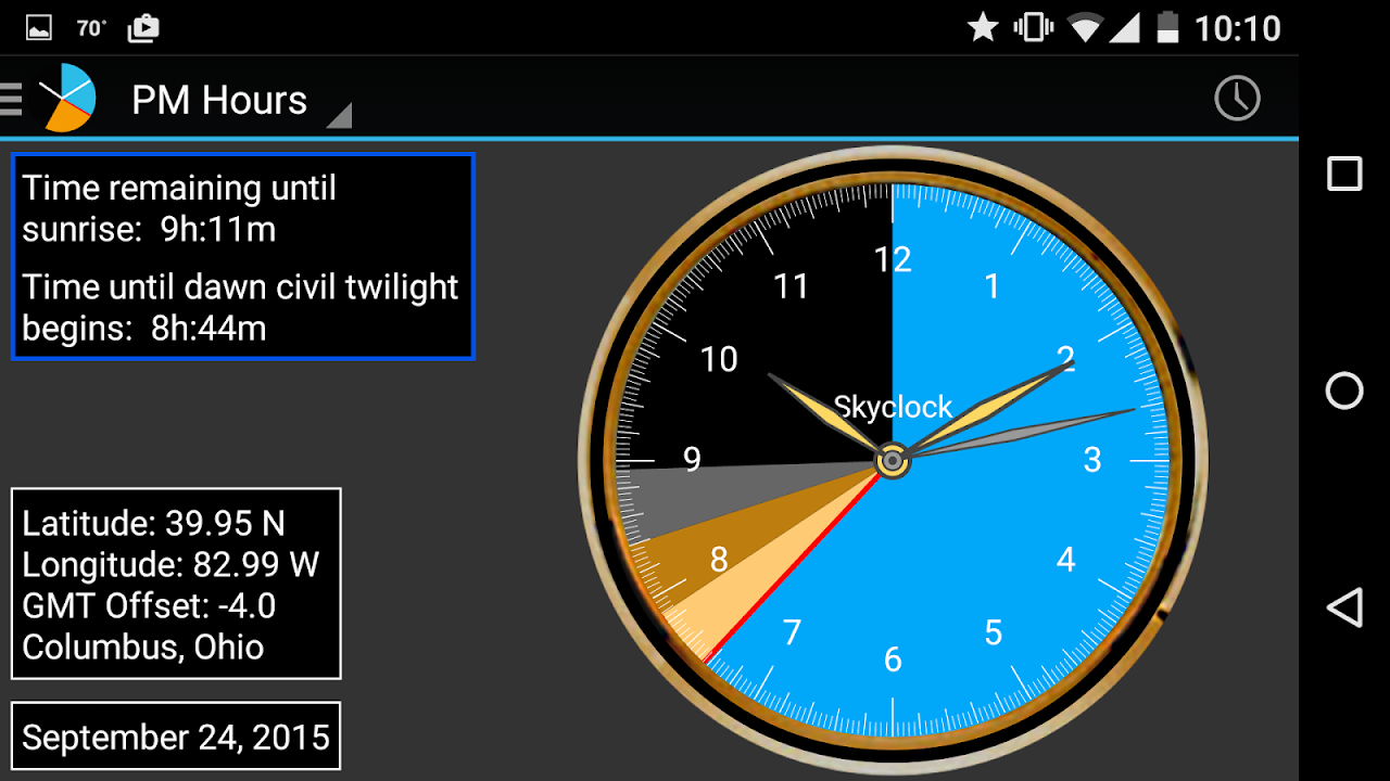 Android Skyclock Screen 3