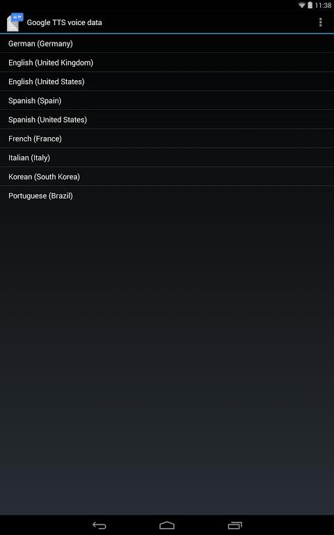 Google Text-to-speech Engine 3.8.16 Screen 1