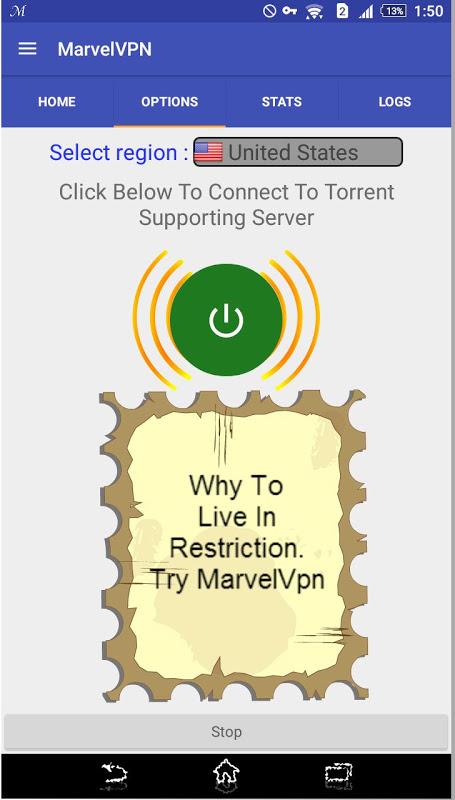 Android MarvelVpn Screen 2