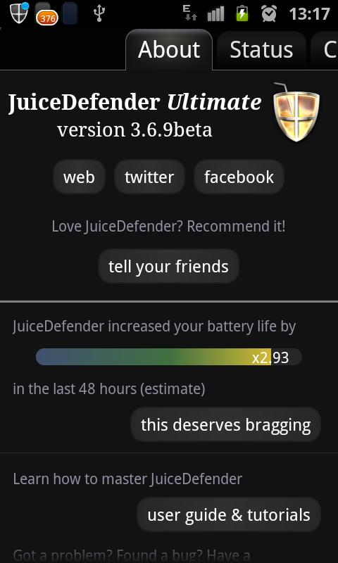 Android JuiceDefender Ultimate Screen 1