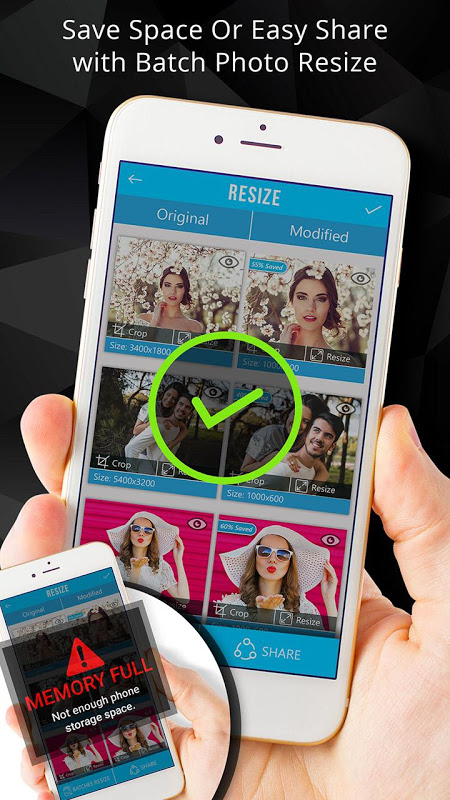 Android Photo Resizer: Crop, Resize, Share Images in Batch Screen 4