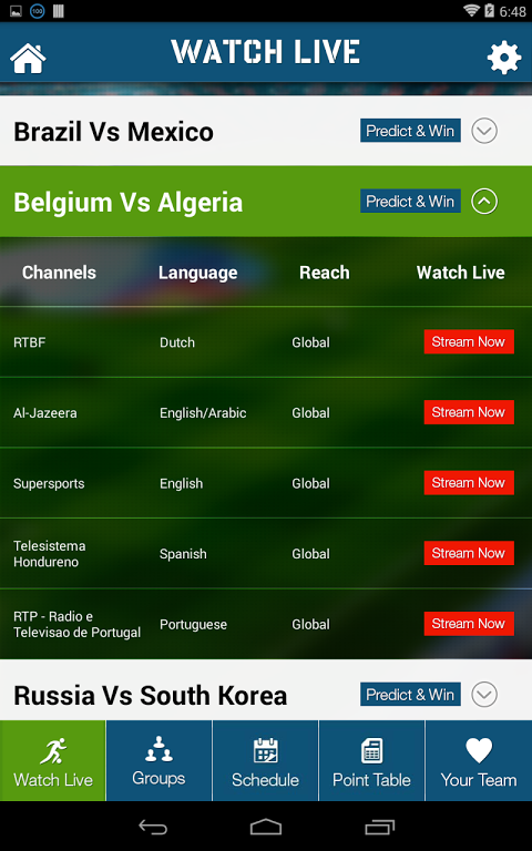 Live Football World Cup 2014 1.0 Screen 2