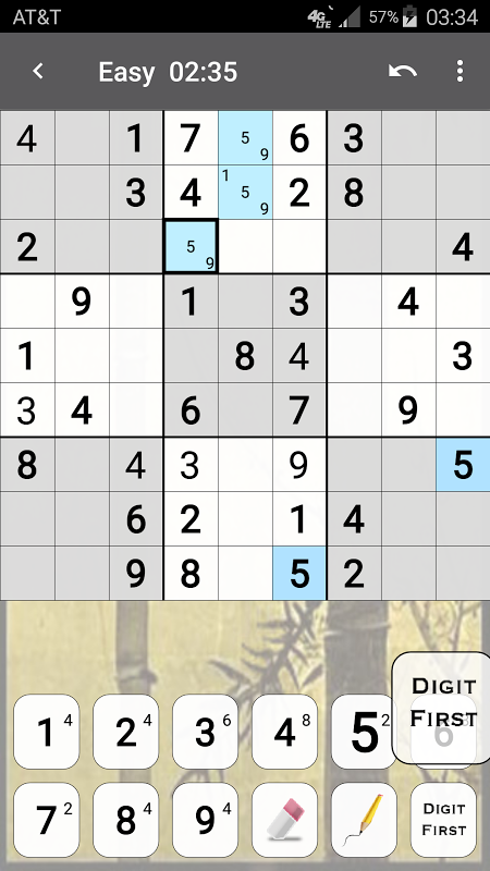 Android Sudoku Screen 2