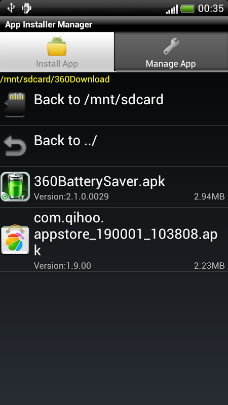 Android App Installer Manager Screen 2