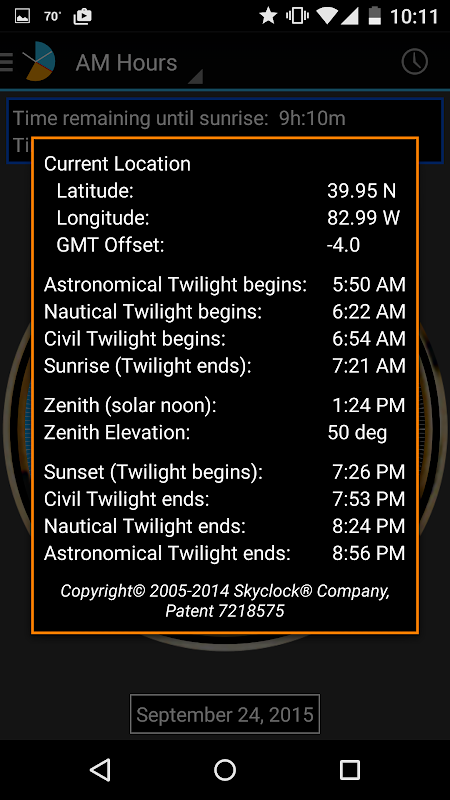 Android Skyclock Screen 6