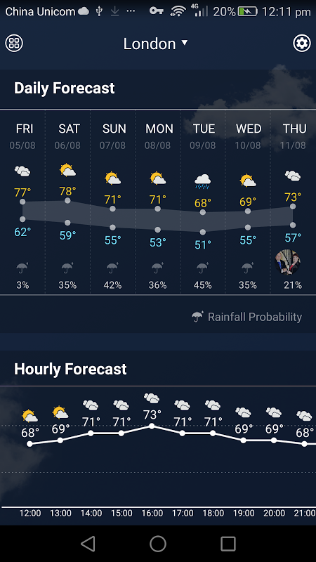 Android weather widget with  wind Screen 2