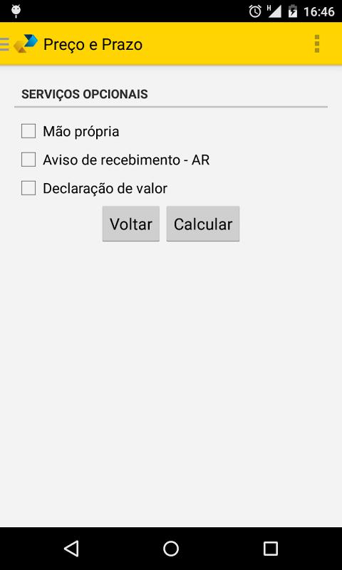 Android Cálculo Preço e Prazo Correios Screen 4
