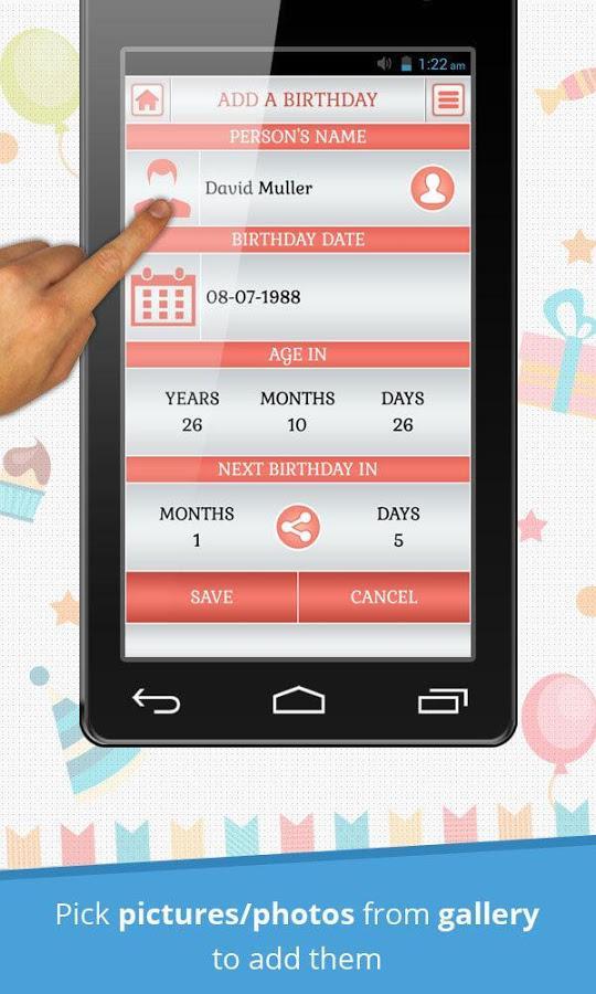 Birthday Reminder & Calendar 1.0.5 Screen 1