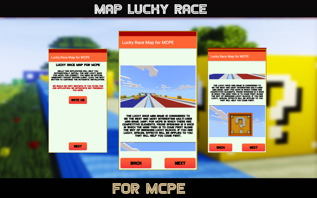 Android Lucky Race  - Map for MCPE Screen 1