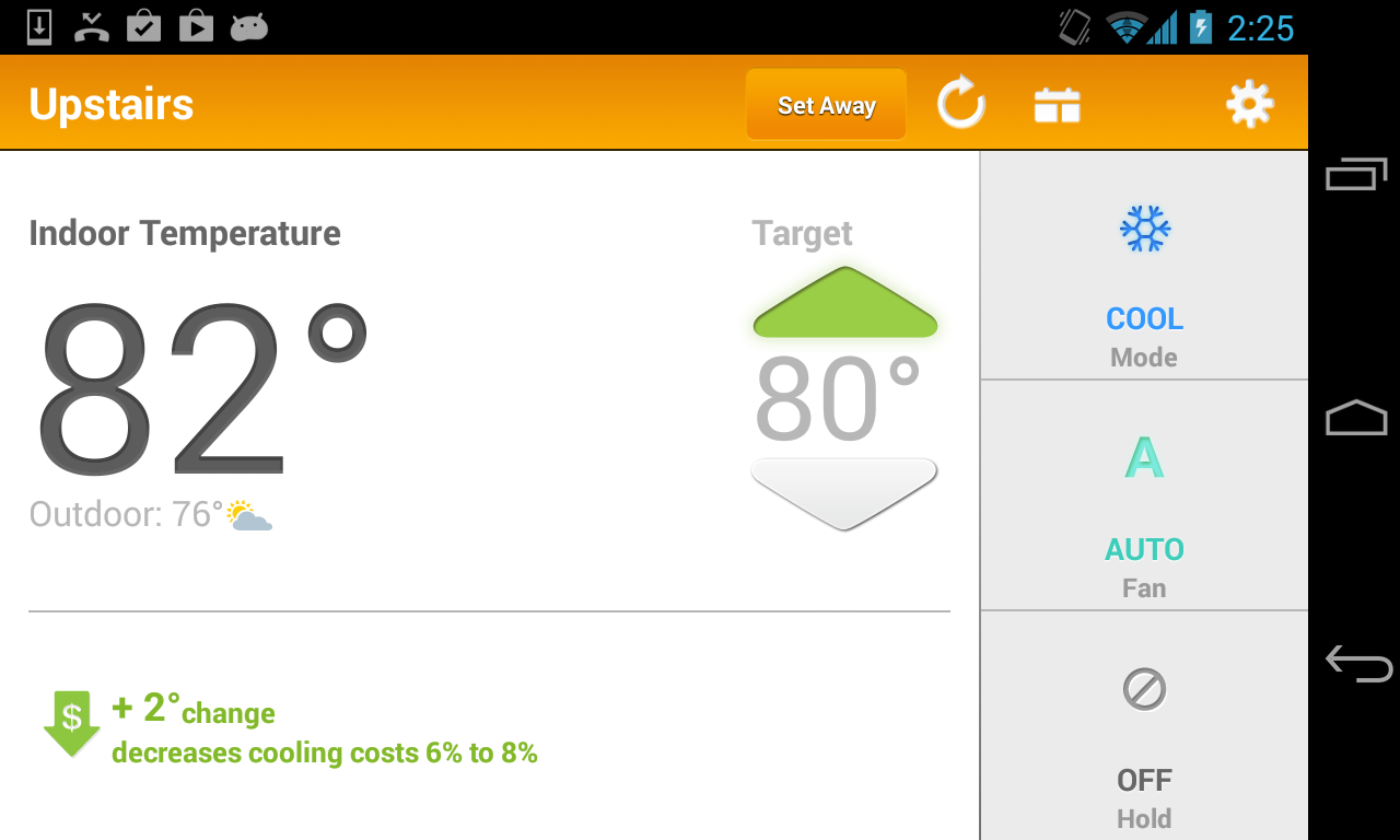 Android EnergyHub Thermostat Screen 1