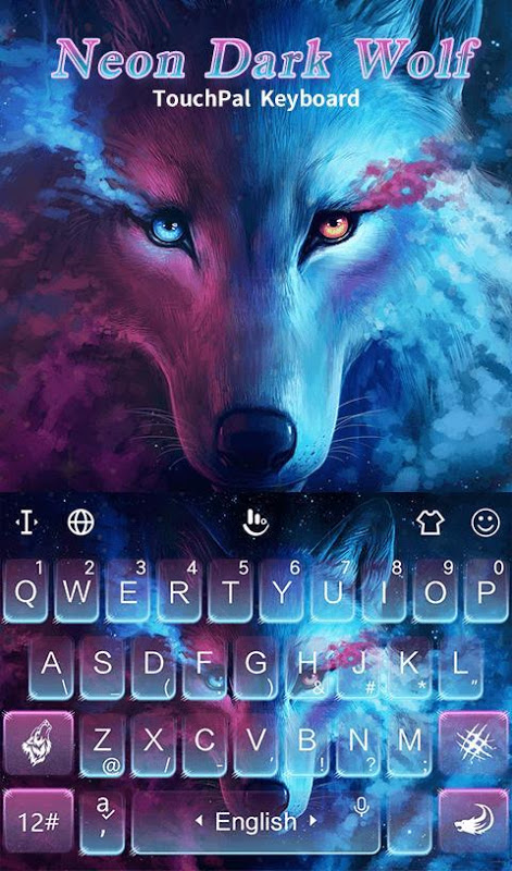 Android Blue Night Neon Dark Wolf Keyboard Theme Screen 3