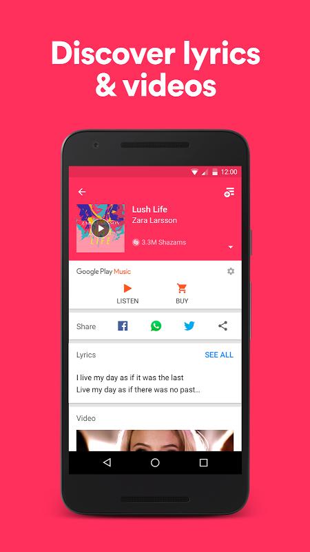 Android Shazam Screen 2