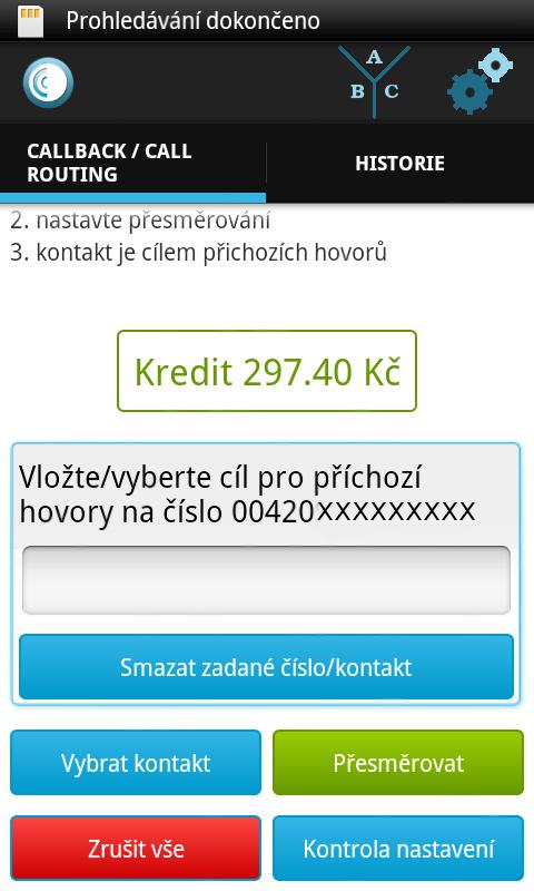 Android Odorik callback Screen 3