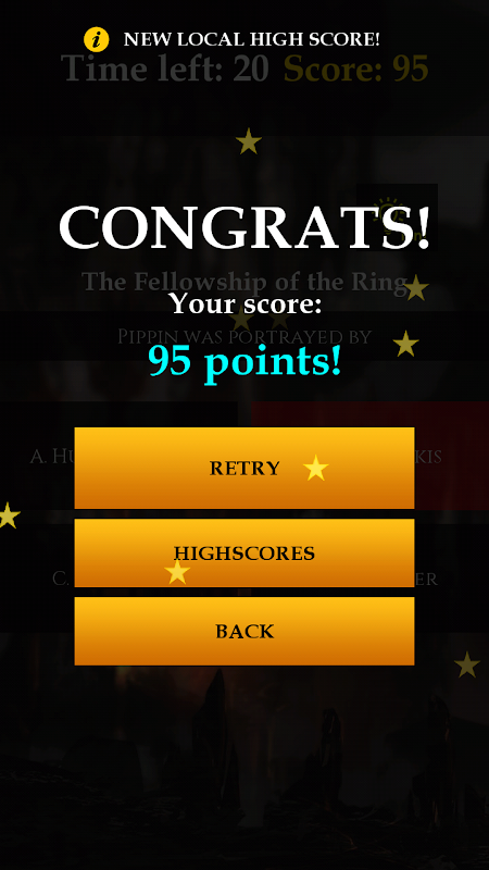 Android Quiz for LOTR Screen 5