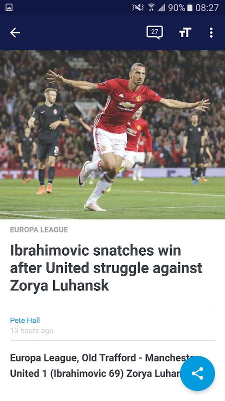 Android Eurosport Screen 1