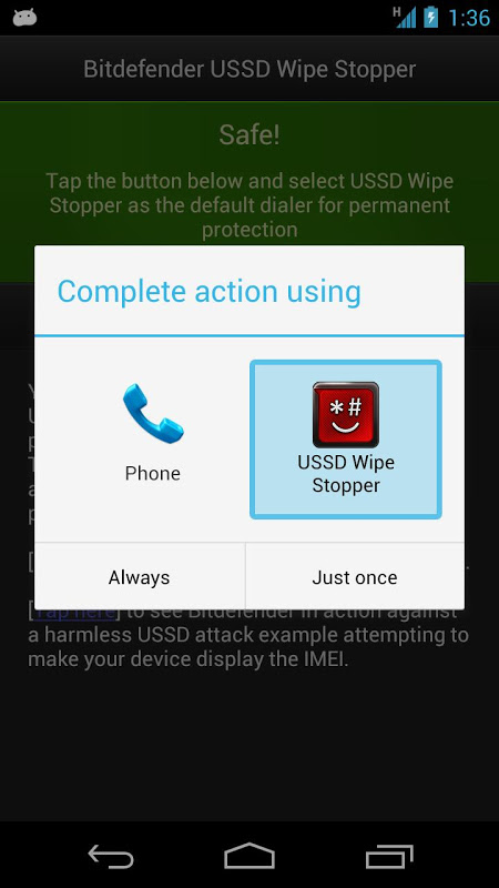 Bitdefender USSD Wipe Stopper 1.3 Screen 3