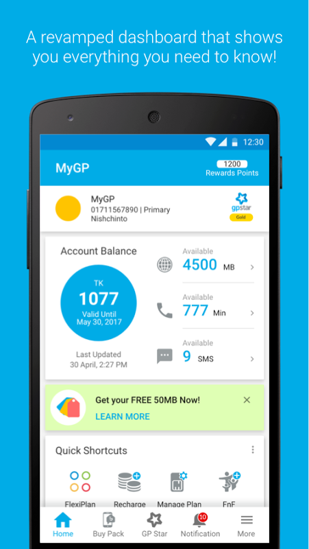 MyGP - grameenphone 2.5.1a Screen 1