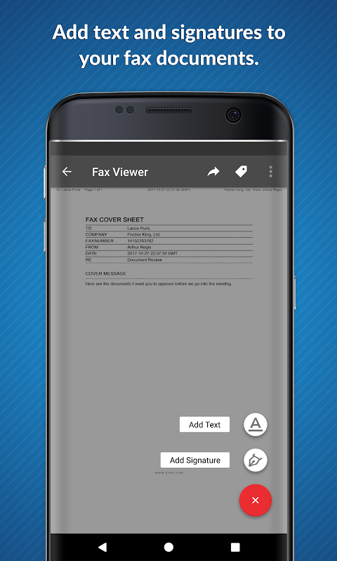 Android eFax – Send Fax From Phone Screen 2