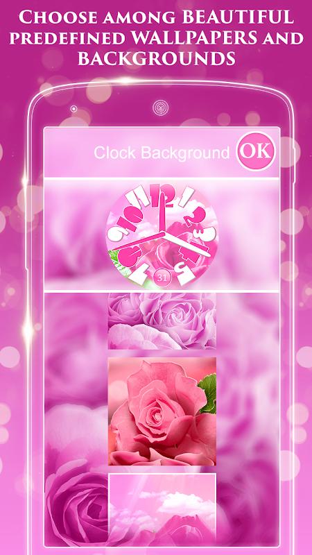 Pink Rose Clock Live Wallpaper 3.0.2 Screen 2