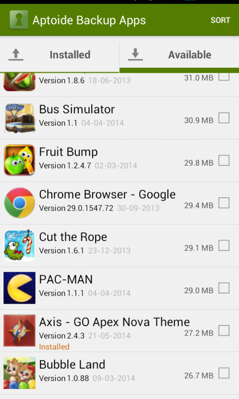 Aptoide Backup Apps 2.4.0 Screen 3