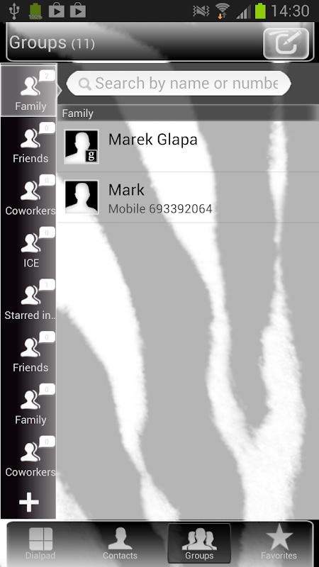 GO Contacts Zebra Theme 3.0 Screen 3