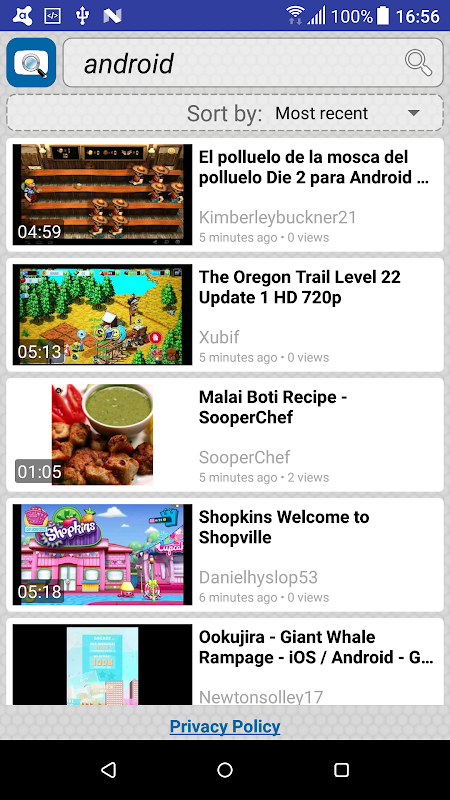 Android Quick Search for Dailymotion Screen 2