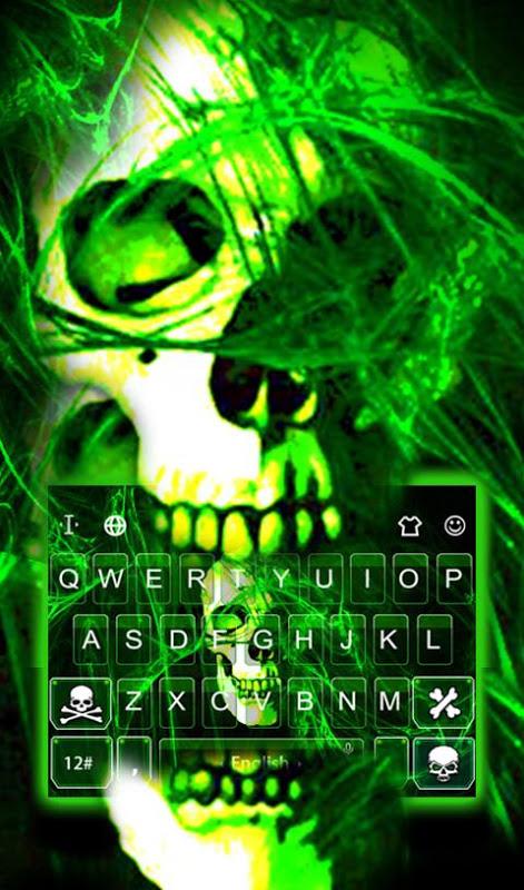Android Neon Green Light Skull Keyboard Theme Screen 2