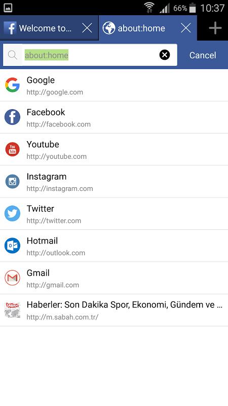 Android Aon Browser, Adblock Mini Screen 1