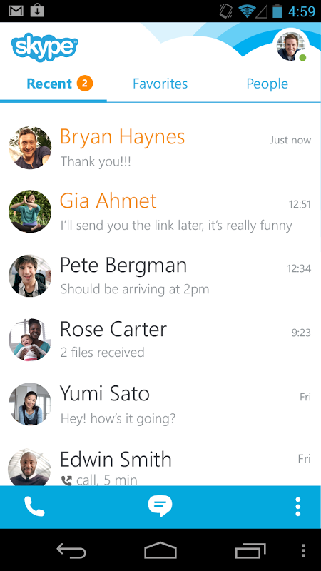 Android Skype Screen 6