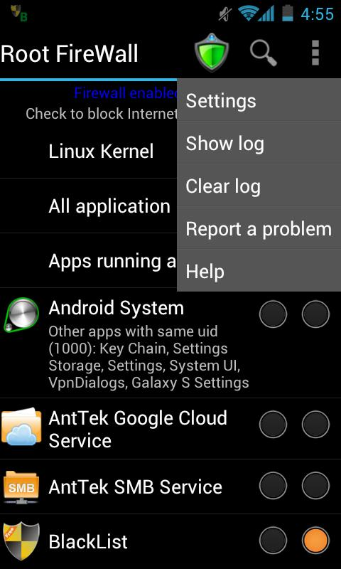 Android Root Firewall Screen 1