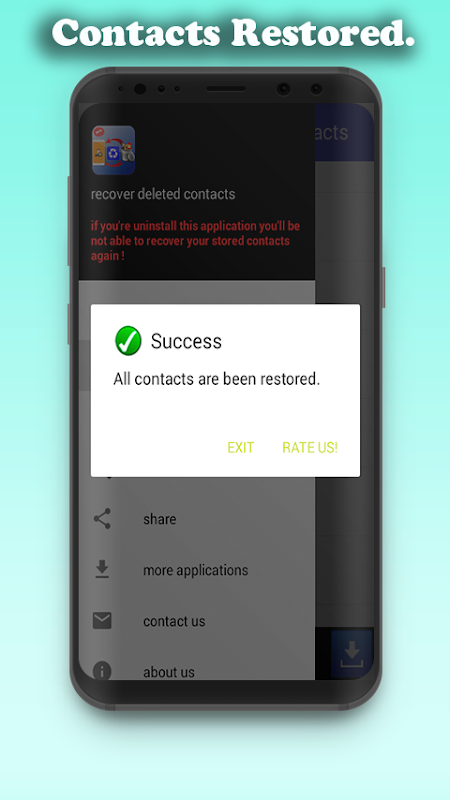 Android restore deleted contacts Screen 2