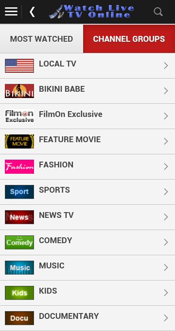 Android Watch Live TV Online Screen 1