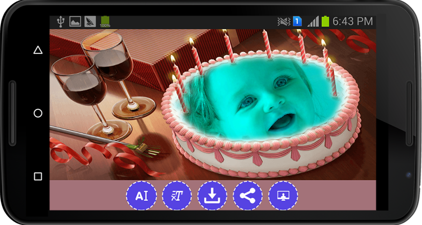 Android Name Photo on Birthday Cake Screen 2