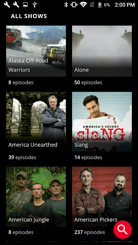 Android HISTORY: Watch TV Show Full Episodes & Specials Screen 1